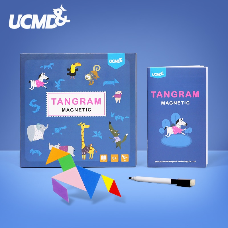 Imán magnético EVA 3D para nevera, juguete rompecabezas Tangram, juguetes educativos, rompecabezas magnético, juegos de rompecabezas para niños, decoración del hogar