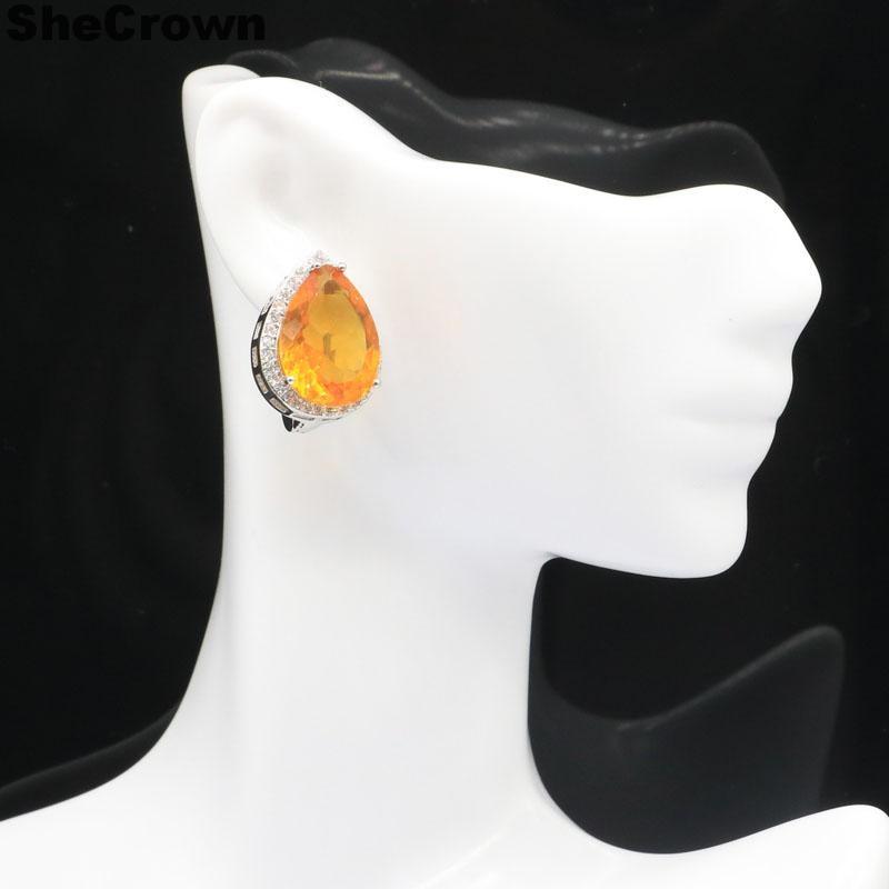 22x16mm Venta caliente gran forma de gota 18x13mm gema verde tsavorita granate dorado citrino CZ regalo de mujer 925 pendientes de plata