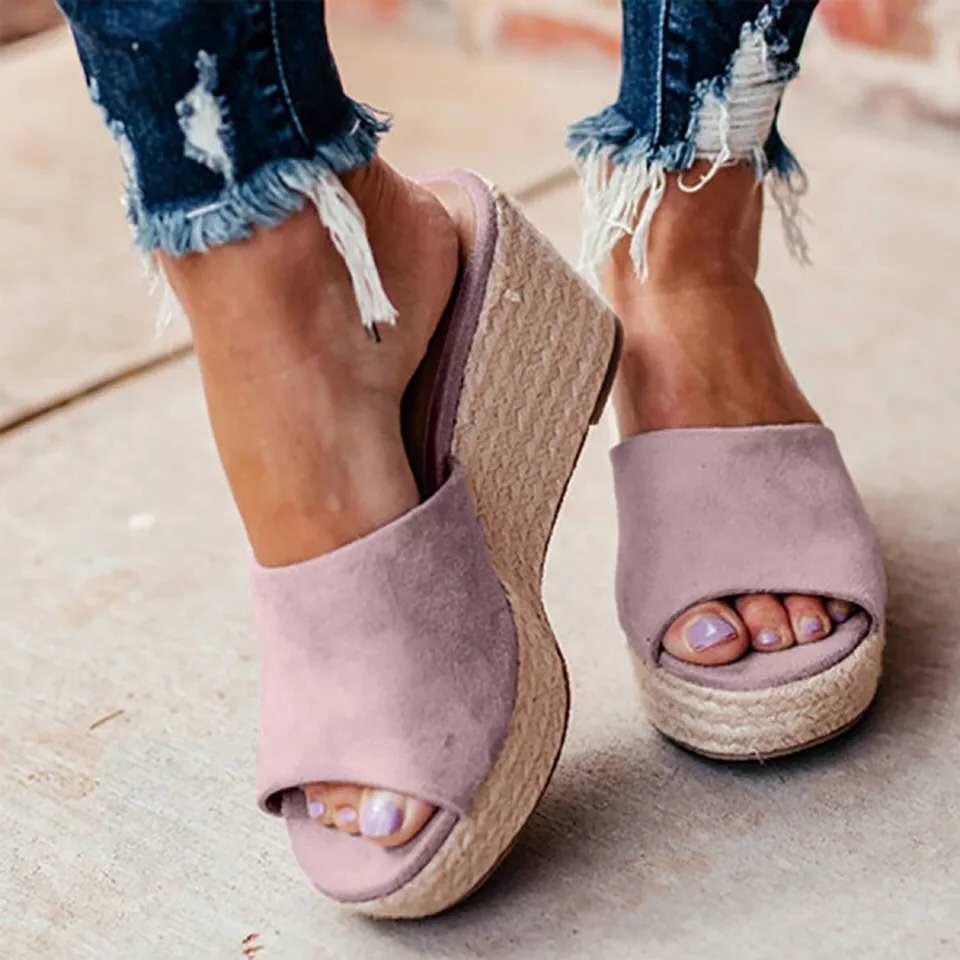 Sapatos opcionais multicolorido mulher chinelos de plataforma de moda feminina interior chinelos de banho cunha praia slide sapatos salto alto sandálias