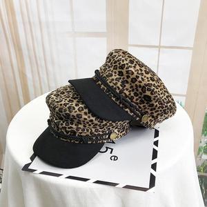 Korean style Fashion Women hat Vintage Flat navy hat Leopard print Octagonal hat 2021 HOT Female Military cap