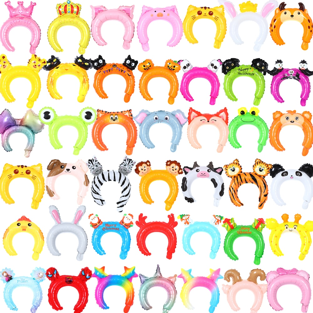 20 stücke Nette Tier Stirnband Folie Ballons Tiger Kaninchen Panda Kinder Spielzeug Ballon Baby Dusche Geburtstag Party Halloween Decor Globos