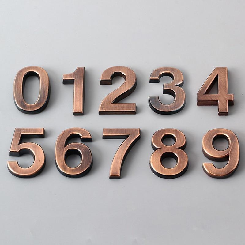 Bronze Digital 0-9 Hotel Adhesive Plating Digital Metal Building Door Address Floor Number Hotel Number Sticker Plate Sign