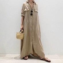 Maxi Dresses For Women Korea Style OL Single-breasted Slim Lapel Ladies Fashion Plain Maxi Dresses L