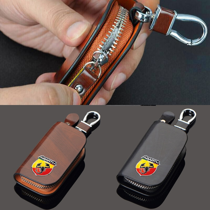 NEW Leather Car Key Case For Fiat abarth 500 Punto Stilo 124 125 Holders Fashionable gifts for men Key Case Cover Remote Cover