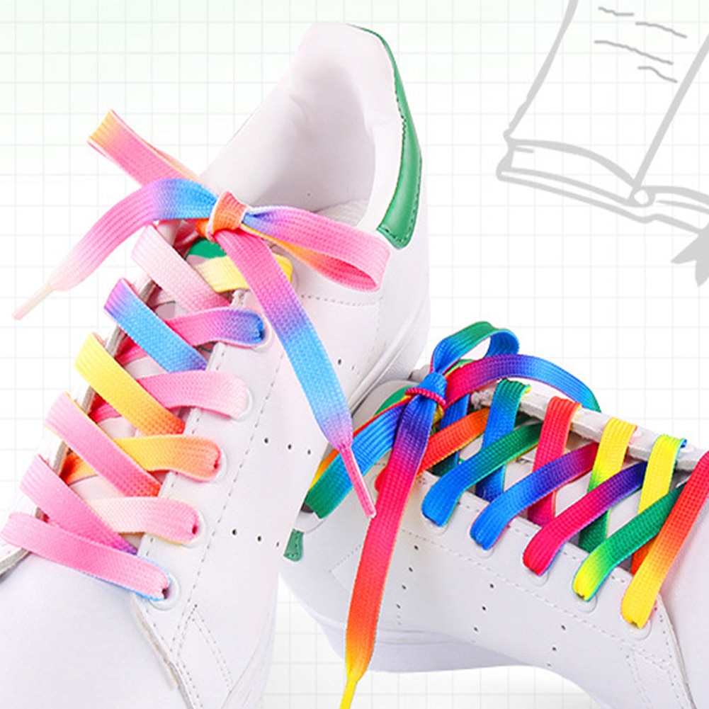 2021 Colored Gradient Shoelaces Fashion Printed Pattern White Shoes Laces Outdoor Sports Flat Shoela