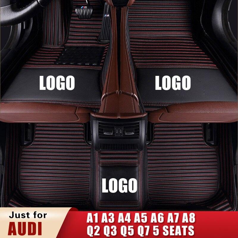Esteiras do assoalho carro personalizado para audi a1 a3 a4 a5 a6 a7 a8 q2 q3 q5 q7 5 assentos avant allroad conversível quattro esteiras tronco auto tapete
