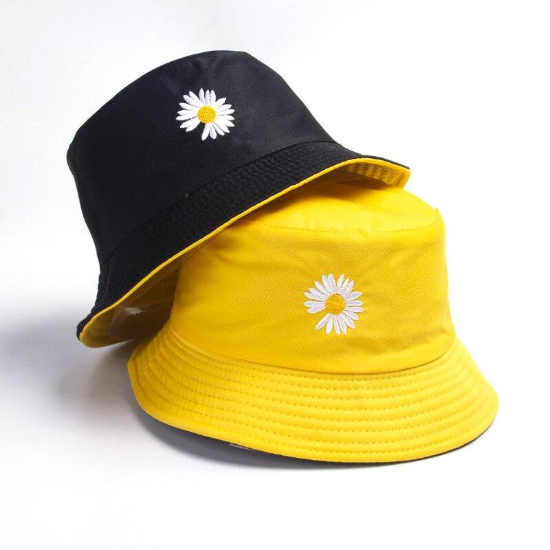 Весенние женские Панамы, шляпы для рыбалки, солнцезащитная Кепка от солнца, маленькие маргаритки, Двусторонняя одежда, Весенняя женская шля...