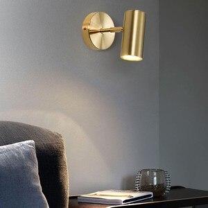Bedroom Copper Wall Lamp Simple Nordic  Luxury Adjustable Wall Spotlight Rotary Aisle Corridor Bathroom LED Mirror Headlight