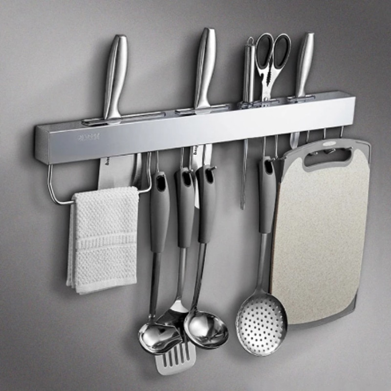 منظم سكاكين المطبخ من الفولاذ المقاوم للصدأ رف تخزين أواني الملعقة المعلق رفوف للهاتف المحمول أدوات محمولة ملحقات