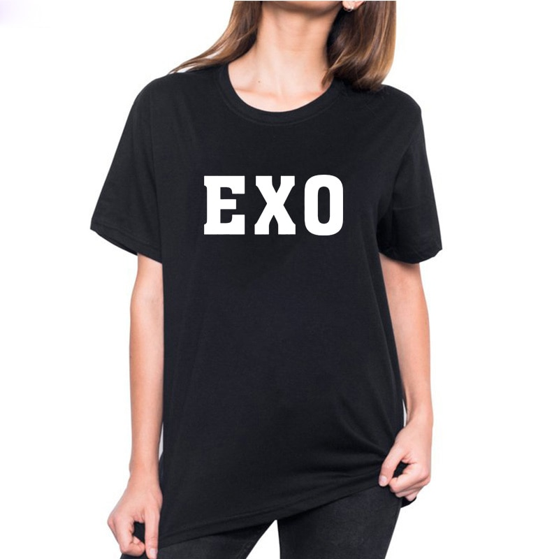 EXO Printed T Shirt Women Harajuku Cotton Funny T Shirt Women Tops Vintage Tee Shirt O-neck T-shirt Femme Black & White
