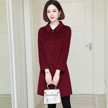 Casual Wool Blends Women 2020 New Mid-Long Autumn Coat Turn-down Collar Woolen Coats Women