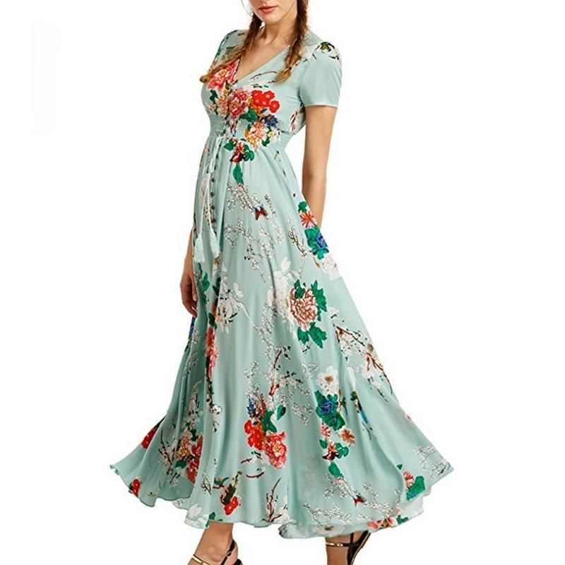 Floral Printed Boho Maxi Dress Women Summer Bohemian Long Dress V Neck Big Swing Plus Size Short Sleeve Holiday Beach Vestidos