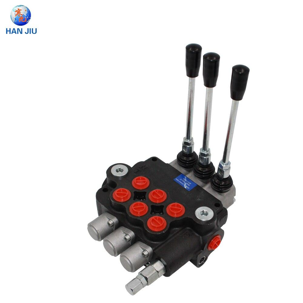 Válvula de bobina de control Monobloc, 3 palancas de 80L/Min, 3 posiciones de doble acción, 3P80 Monoblock