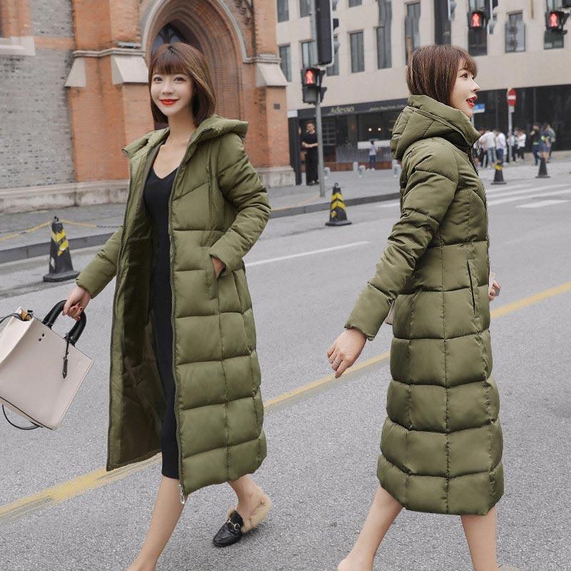 Женские пуховики 2021, модные однотонные тонкие пуховики с капюшоном, теплая зимняя одежда, длинные ветрозащитные женские парки, свободные бо...
