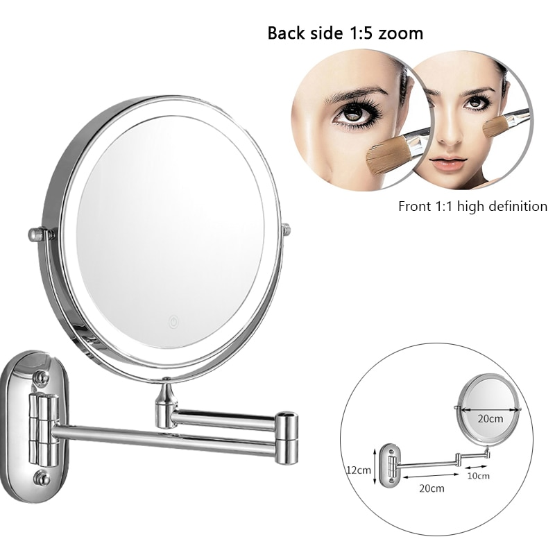 Bath Makeup Mirror LED Folding Wall Mounted Bathroom 8 inch Mirror 3x 5x 7x 10x Magnifying Double Sided Touch Bright Adjustable