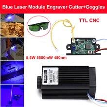 445nm 5500mW 12V High Power TTL Adjustable Focus Blue Laser Module DIY Laser engraver accessories 5.5W laser head + goggles
