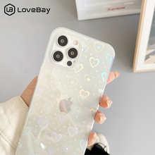 Модный прозрачный чехол для телефона с градиентным лазерным рисунком сердца для iPhone 11 12 Pro Max X XS XR 7 8 Plus SE 2020, противоударный бампер