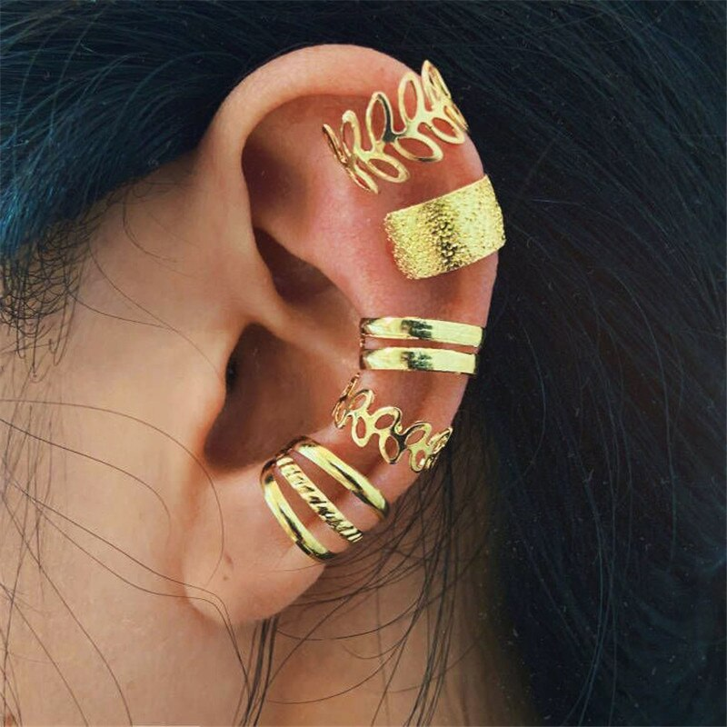 WUKALO 5pcs Fashion Gold Color Leaves Non-Piercing Ear Clip Earrings For Women Simple Fake Cartilage Ear Cuff Jewelry