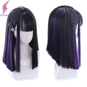 Yiyaobess Straight Long Linen Grey Wig With Bangs Synthetic Natural Hair Fashion Female Cosplay Wigs For Women High Temperature