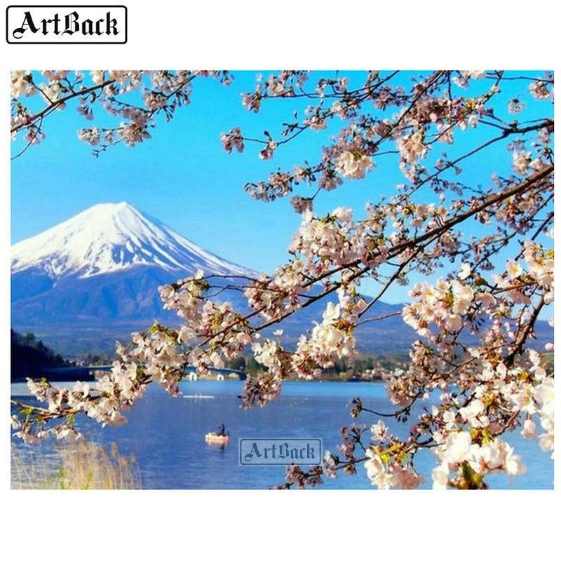 Cuadro de diamantes 5d completo montaje Fuji Sakura Plaza escénica y arte de diamantes redondos Japón paisaje 3d mosaico bordado de diamantes bonito