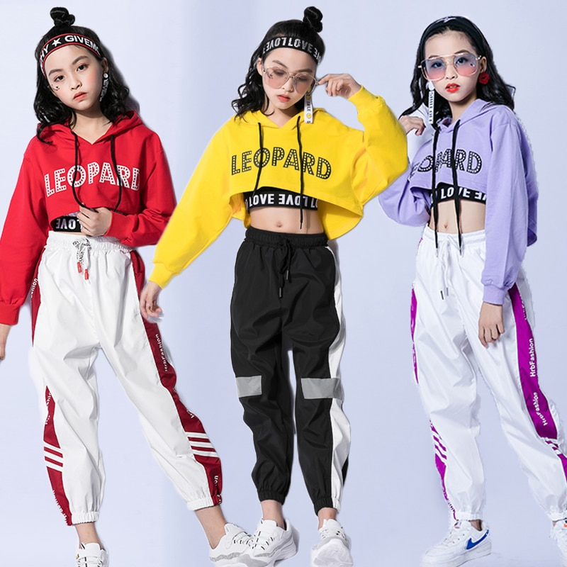Jazz Dance Costumes Hip Hop Kids Long Sleeve Hooded Top Vest Pants Girls Hiphop Clothes Street Dance