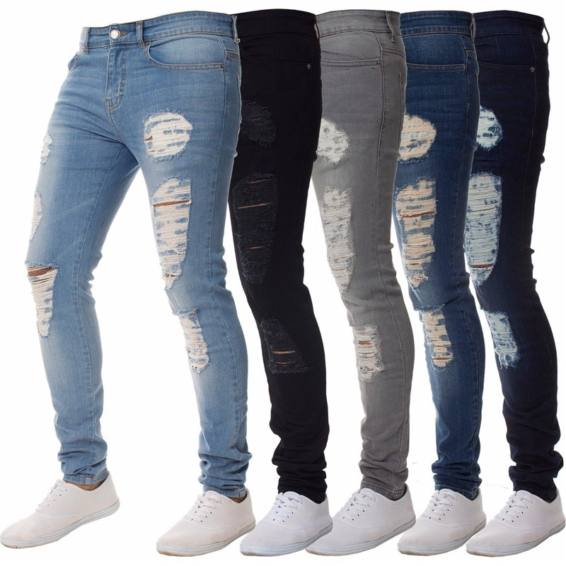 2020 Men's Sexy Hole Jeans Pants Casual Male Ripped Skinny Trousers Slim Biker Outwears Pants