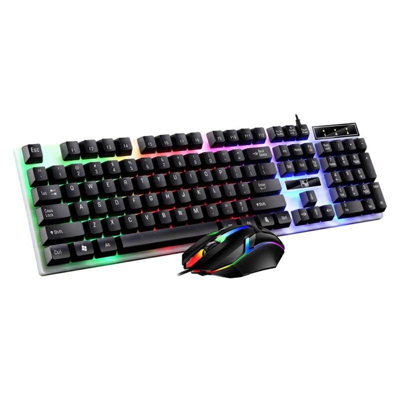 ترقية أوسب السلكية الميكانيكية لوحة مفاتيح وماوس مجموعة ألعاب الكمبيوتر لوحة المفاتيح 104 كيكابس الملونة الخلفية لوحة المفاتيح الألعاب