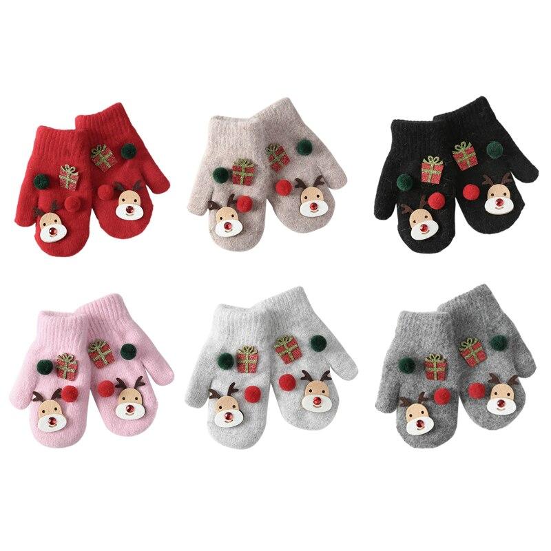 Bebé espesar niñas niños dedo completo nuevos guantes de bebé Navidad invierno Niño cálido tejido mitones de dibujos animados guantes con patrón caliente