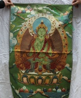 36 pulgadas Tibet seda bordado 4 mano chenrezigd Buda Avalokiteshva Thangka pintura Mural.