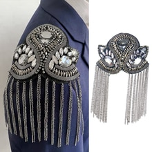 1PC Retro Beaded Tassels Shoulder Strap Suit Epaulettes Stage Sew on Clothes Applique Punk Fashion B