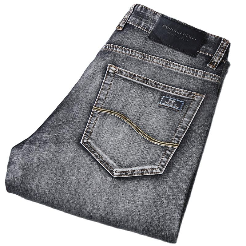 Джинсы мужские классические эластичные, тонкие эластичные джинсы стрейч, Повседневные Классические, весна-лето 2021