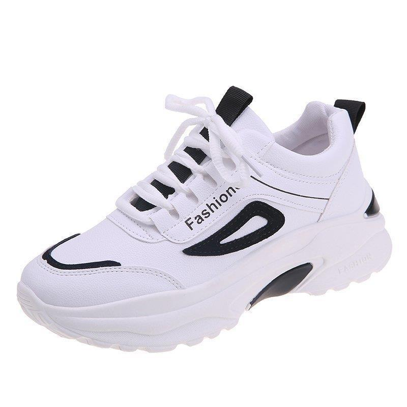 Tênis branco feminino de couro salto grosso calçado esportivo com sola grossa