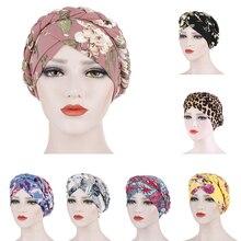 Muslim Women Elastic Printed Braids Turban Hat Head Wrap Cover Hair Loss Cancer Chemo Lady Hat Cap Arab Headscarf Bonnet Beanie
