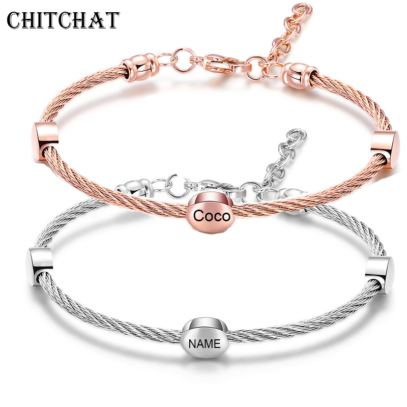 Fashion Chic Custom Beads Bangle For Women Engraved Letters Romantic Family Bracelet Lovers Gift Party Jewelry dreams come true letters engraved bangle be yourself metal lettering fashion hope faith cuff bracelet women best gifts