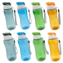 Water Bottle - Large with Travel Carry Lanyard, BPA & BPS Free Plastic for Sports, Camping, Gym, Fit