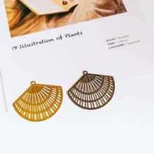 KC or blanc K plaqué Eardrop pendentif breloques ventilateur bijoux composant bricolage fait main matériel pour boucle doreille collier 8 pièces