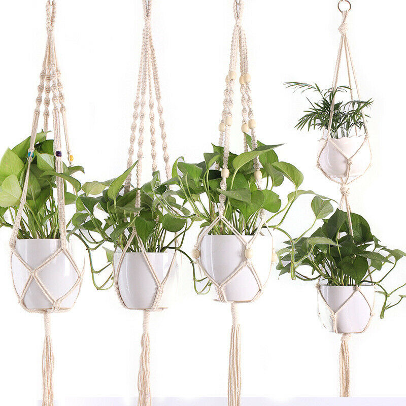 Модная винтажная Подвеска для растений из макраме, домашняя подвесная корзина, джутовая веревка, новый хлопковый и льняной висячий цветочный горшок, сетка