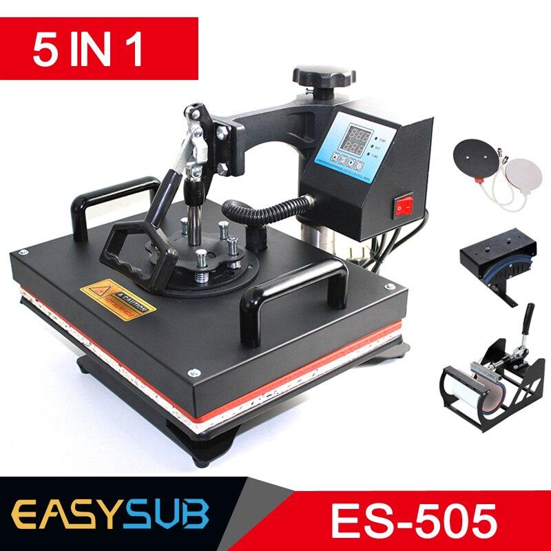 Máquina de prensado en caliente Combo barata de 30*38CM 5 en 1 para impresión de sublimación para placas de camisetas/tapas/tazas/Fundas para teléfonos
