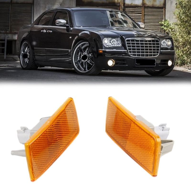 Pair Left Right Front Bumper Side Turn Signal Lamp Marker Light Leaf for Chrysler 300 300C 04805860AA 04805861AA