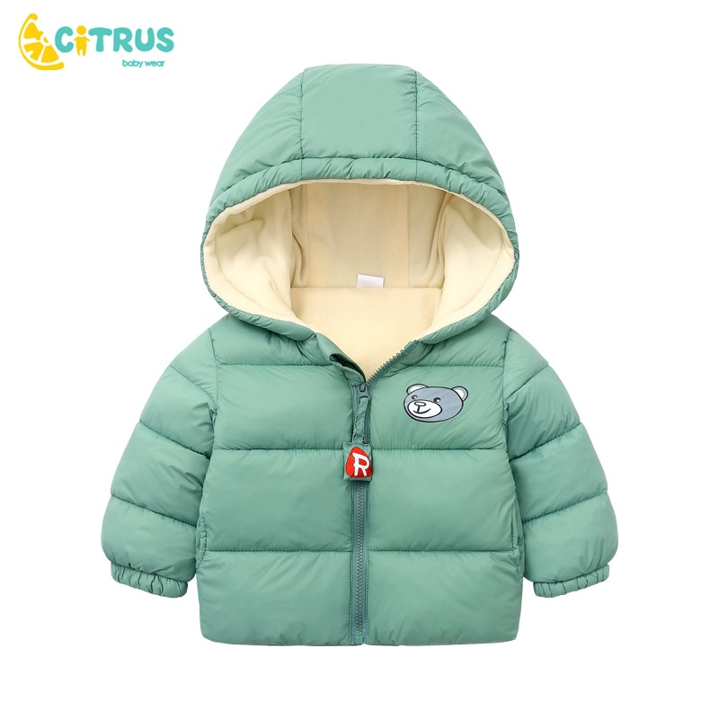 CITRUS Kids Cotton Clothing Thickened Down Jacket Baby Winter Warm Clothes Kids Autumn Zipper Clothing With Hooded Boys Outwear