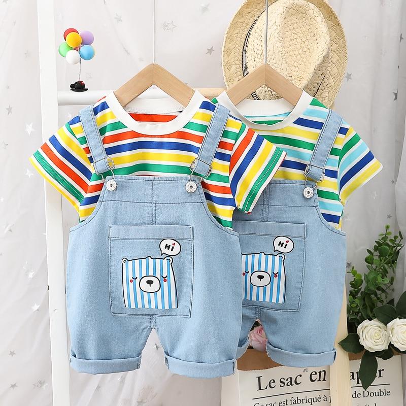 HYLKIDHUOSE 2020 Summer Baby Boys Girls Clothing Sets Stripe Short Sleeve T Shirt Denim Shorts Infant Clothes Children Clothing