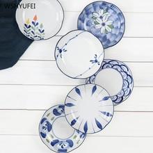 Petites fleurs fraîches peintes en céramique   Céramique simple créative vaisselle de table, restaurant maison cuisine snack salade fruits sushi dessert assiette à gâteau
