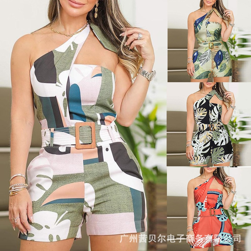 WEPBEL Women Sleeveless Playsuits New Belt Floral Flower Casual Summer Spring Fashion High Waist Playsuits