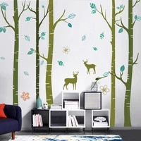 large tree forest wall sticker deer teenager living room tv wall art decals sofa backdrop bedroom decor aesthetic wallstickers