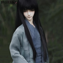 Bybrana 1/3 1/4 1/6 1/8 BJD peruk uzun siyah düz yüksek sıcaklık Fiber saç bebekler için