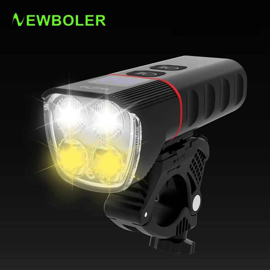 NEWBOLER-مصباح دراجة USB 6400 مللي أمبير ، مصباح أمامي LED 1600 لومن ، قابل لإعادة الشحن ، مقاوم للماء ، بطارية محمولة ، ملحقات الدراجة