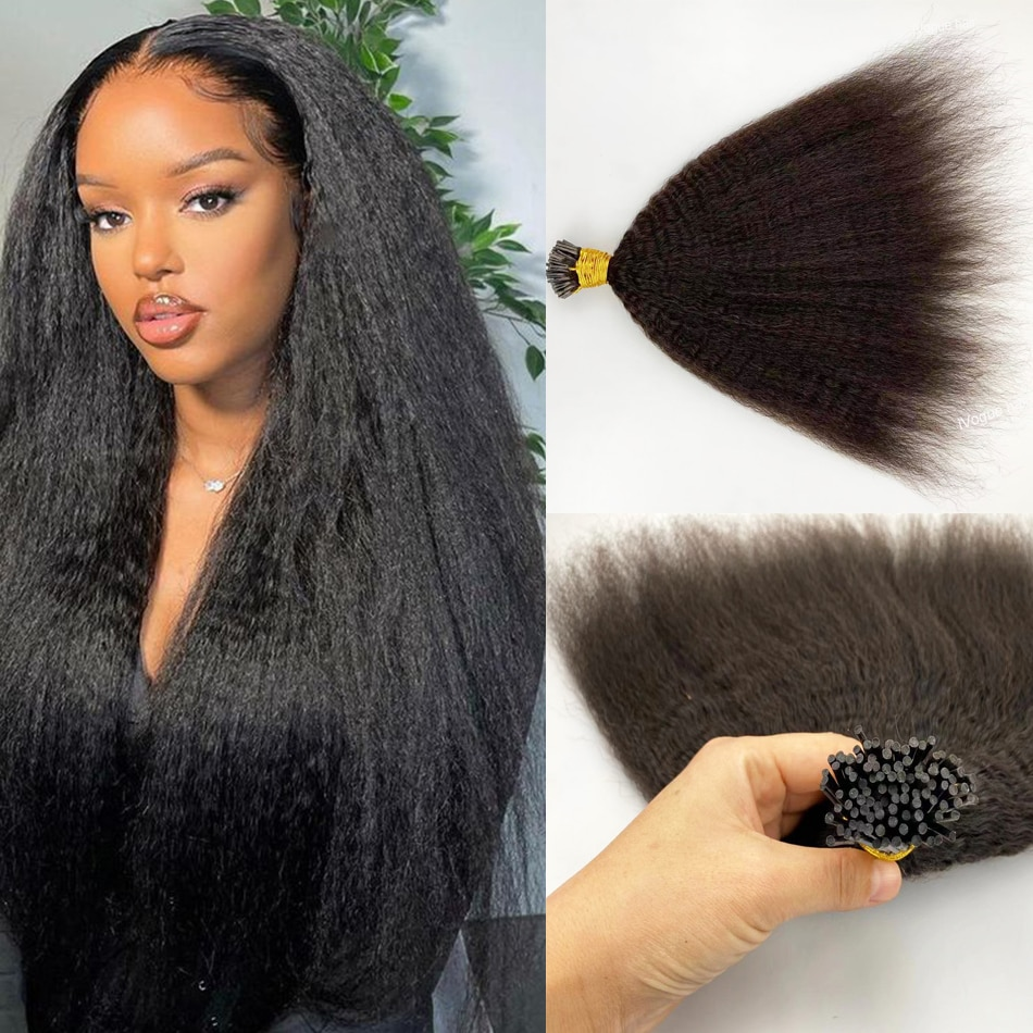 Yaki Straight I Tip Microlinks Hair Extensions Human Hair 100% Virgin Hair For Women Mongolian Yaki