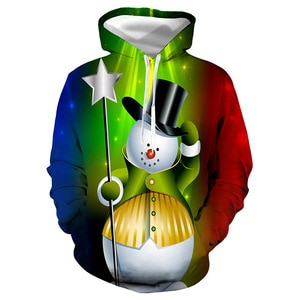 Unisex Christmas Magician Snowman 3D Digital Print Loose Hooded Sweater Pullover Women Men New Year Baseball Sweatshirt Hoodie