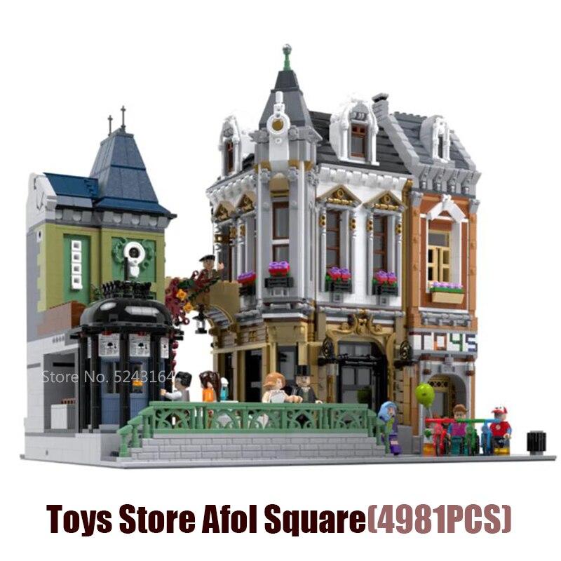 Moc cidade streetview série o brickstive havana café loja de bicicletas modelo modular brinquedos loja acol quadrado blocos de construção brinquedos presentes