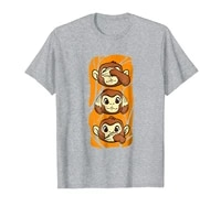 three wise monkeys shirt funny see hear speak funny